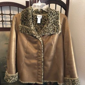 Animal Trim Jacket, coppery gold and cheetah